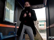 Shameless girl from Budapest is pissing and undressing outside, in the shop and even in the bus