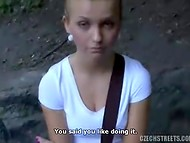 Czech Streets: stranger finally persuaded modest blonde to suck in the public park 5