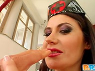 Busty nurse in latex uniform degustates wiener and gets fucked in the ass in the POV sex clip 4