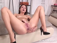 Vacuum pump and anal dildo were used by slender owner to lead tight pussy to squirt 11