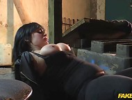 Incorrup cop penetrates full-bosomed dame on the camera and cums on huge breasts 8