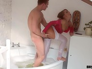 Chick shoots on phone camera a guy that takes bath so he has to explain his discontent with that 5