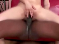 Tight pussy of Asian girl with pigtails received indescribable pleasure from huge black cock inside 4