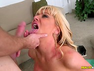 Experienced blonde MILF puts money in handbag and follows young fucker to his apartment 8