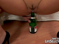 Naughty bunny fists girlfriend's vagina than brings into a play champagne bottle 9