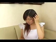 Blowjob performed by brown-haired Japanese teen with nice downblouse view 4