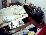 Young Asian couple's sexual act shoot on hidden camera that was set on the ceiling 11