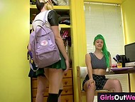 Schoolgirl with green hair was kinda nervous before the exam but best friends found a way to calm her down 4