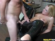 Hottie in sexy latex suit prefers healthy lifestyle so bearded dude is ready to supply her cunt with hard prick 7