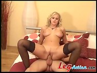 Energetic dude gets his sexual desires fulfilled fucking curly-haired Queen Mary in sexy stockings
