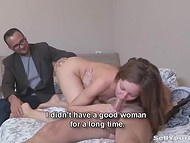 Hospitable Russian worker invited the boss to stay for a while and enjoy his young wife's tight anal hole 4