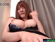 Japanese caressed rubber dick with massive hooters and fingered unshaved pussy 7