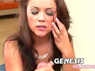Latina Kristina Rose took off pink lingerie and pleased cameraman with great oral sex 10