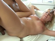After severe anal sex with young blonde Aria Austin, one of the black dudes erupted semen in shaved pussy 8