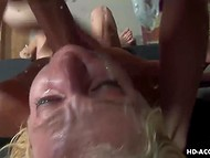 White-headed girl with deep throat goes mad about sucking partner's loaded weapon 7