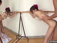 Flexible dancer from Japan remained just with partner in the training hall and got fucked 5