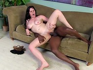 Surprisingly 30-inch shaft of Ebony fucker entered completely into teen brunette's pink peach 10
