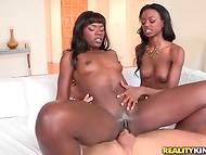 Сцена межрасового секса с участием двух шоколадных пташек, скачущих на пенисе белого плейбоя