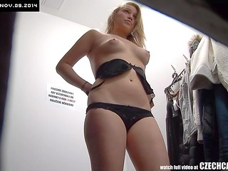 Czech Cabins: hidden camera records light-haired girl trying beautiful black lingerie on