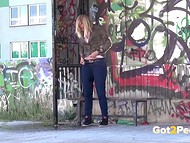 Necessity forces shameless blond girls to  piss in public places in front of pedestrians 6