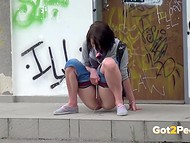 Curious cameraguy films shameless females, who get naked and piss in the public places 11