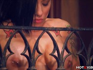 Tattooed pornstar with a lot of piercings shamelessly masturbates on the balcony 5