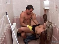 Diligent man wanted to clean the toilet but excited wife forced him to fuck hot pussy right there 10