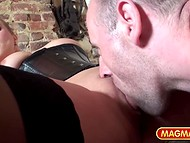 Imperious MILF forces man to watch his mature comrade getting punished with strapon 8