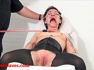 Tied babe with short hair trembling because of electric charges that male sends through her body 5