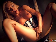 Scrumptious dame with huge bosoms made her snatch squirt without taking corset off 9