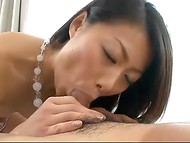 Fucker helped Japanese to take off polka dot panties to fill her snatch with jism afterward 5