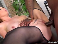 Seductive sexretary Kiki Daire felt the power of two black dicks inside her wet holes 11