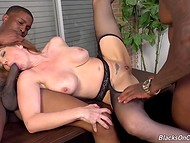 Seductive sexretary Kiki Daire felt the power of two black dicks inside her wet holes 5