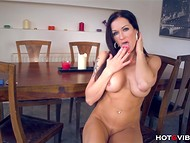 Smoking-hot Stacy Silver with big bosoms evaluated advantages of using vibrating ring on the wooden table 6