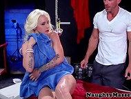 Imperious Stevie Shae with tattooed body took control of the cleaner on the massage table 5