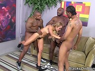 Three black-skinned homies pushed their imposing shafts in each of light-haired Tinslee Reagan's holes 4