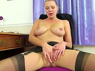 After a hard working day, flawless secretary in stockings relaxes sissy with buzzer 5