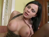 Dark-haired beauty with big breasts and in sexy stockings assfucked by cool old man 8