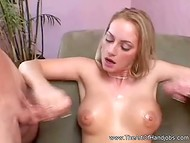Dirty-minded woman presents handjob to partners and empties their cocks on her juicy boobs 10
