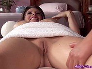 Alluring lady with shaved vagina isn't averse sterting more intimate activity with young masseuse 3