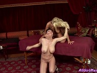 Pale-skinned masseuse with big breasts oiled blonde's body and gave nice cunnilingus 11