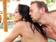Gifted porn actress from France Ava Addams is relaxing with boyfriend in roomy swimming pool 4