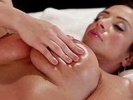 Massage performed by young Sara Luvv awakened stacked Ariella Ferrera's lustful desire 4
