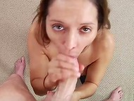 Obedient dame with juicy breasts approached long cock of cameraman and swallowed it 6