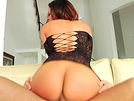 Stunning beauty with large hooters and in sexy lingerie is ready to ride dick all day long 4