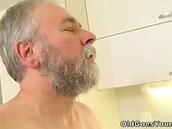 Teenage nymphomaniac wants gray-haired old man with small penis to fuck her wet pussy in the kitchen 11