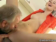 Teenage nymphomaniac wants gray-haired old man with small penis to fuck her wet pussy in the kitchen 4