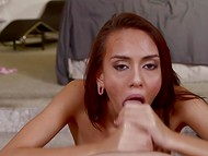 Elegant Janice Griffith with slender body thoroughly sucks wiener awaiting seminal fluid 10
