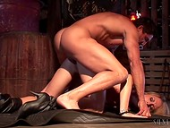 Abandoned storehouse is great hideaway for fiery hottie, who has sex there with muscular chaser 9