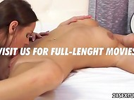Slim lesbian was sleeping for too long so busty mistress had to wake her up with tender cunnilingus 7